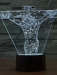 jesús touch oscurecimiento 3d llevó la luz de la noche de la lámpara de la decoración ambiente 7colorful de iluminación novedoso luz de la