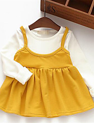 Girl's Casual/Daily Solid Dress,Cotton Spring / Fall Pink / Yellow