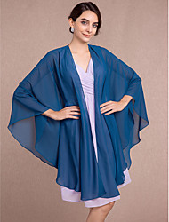 Women's Wrap Capes Sleeveless Chiffon Ink Blue Wedding / Party/Evening V-neck Scales Open Front
