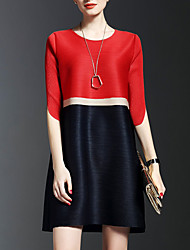 Women's Formal Sophisticated Shift Dress,Color Block Round Neck Above Knee ½ Length Sleeve Red Rayon Spring