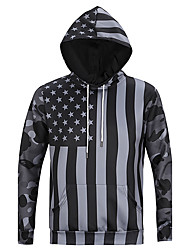 Men's Print Casual / Sport Pocket Hoodie Long Sleeve 3D Black USA Flag Stars Camouflage Hoodie