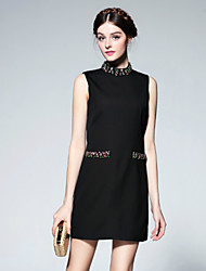 Boutique S Women's Going out Cute Sheath Dress,Solid Stand Above Knee Sleeveless Black Linen Summer