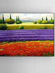 Ready to Hang Stretched Frame Hand-painted Thick oil painting Canvas Corridor Wall Art Purple Lavender Scenery