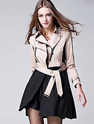 BURDULLY® Feminino Colarinho de Camisa Manga Comprida Trench Coat Cáqui-9126