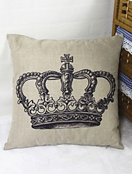 Black Crown Square Linen  Decorative Throw Pillow Case Cushion Cover