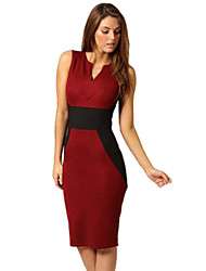 Women's Work Sheath Dress,Color Block Deep V Knee-length Sleeveless Red / White All Seasons
