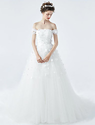 Princess Wedding Dress Court Train Off-the-shoulder Tulle with Beading / Flower