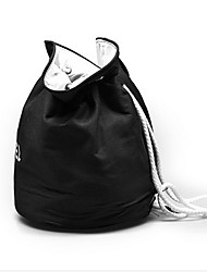 Black Canvas Bag With Double Cylinder Large Capacity Large Strap