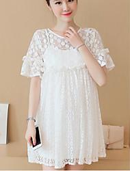 Ample Robe Maternité Décontracté / Quotidien simple,Couleur Pleine Col Arrondi Au dessus du genou ½ Manches Blanc / Noir Polyester Eté