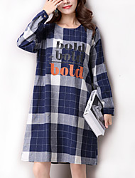 Women's Casual / Simple Ethnic Print Loose Dress,Check Above Knee Long Sleeve Blue / White Cotton / Linen Spring / Fall