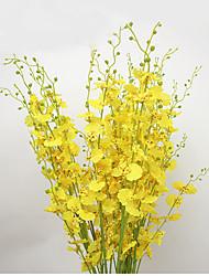 1 1 Ramo Poliéster Orquideas Flor de Mesa Flores artificiais 98cm