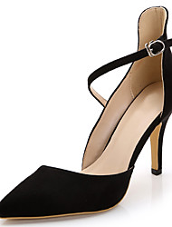 Women's Sandals Summer Heels / Pointed Toe Fabric Party & Evening / Dress / Casual Stiletto Heel Buckle Black /
