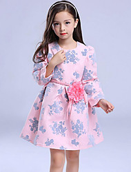Girl's Going out Floral Dress,Cotton Winter / Spring / Fall Pink
