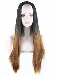 """Black- Brown Ombre Wig Synthetic Wigs for Women 28"""" Long Straight Natura  jenner Brown Wig Female Hair"""