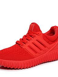 Damen-Sneaker-Lässig-Tüll-Flacher Absatz-Komfort-Schwarz Rot