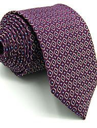 Men's Necktie Tie For Men 100% Silk Purple Checked Extra Long Wedding Jacquard Woven