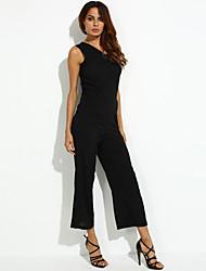 Women's Solid Black Jumpsuits (cotton)