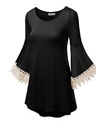 Damen Solide Einfach Ausgehen T-shirt,Rundhalsausschnitt Frühling / Sommer Langarm Schwarz / Grün / Gelb Andere Dünn