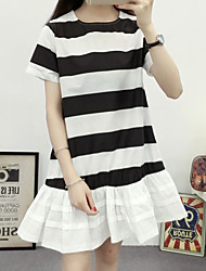 Women's Going out Simple Sheath DressStriped Round Neck Above Knee Short Sleeve Blue / Black Cotton Summer