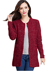 Spring/Fall Going out/Casual/Daily Women's Tops Solid Color Round Neck Long Sleeve Long Sweater Cardigan