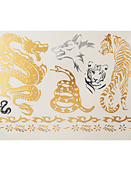 1pc Flash Gold Silver Metallic Temporary Tattoo Dragon Snake Tiger Wolf Pattern Tattoo Sticker GH-08