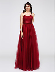 TS Couture® Formal Evening Dress A-line Spaghetti Straps Floor-length Tulle with Criss Cross / Ruching