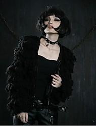 Vrouwen Vintage Winter JasLange mouw Zwart Medium