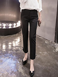 Women's Solid Black Slim Pants,Street chic