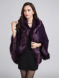 Daily Street chic Long Cloak / Capes,Solid Blue / Red / Black / Purple V Neck Long Sleeve Rabbit Fur Fall / Winter