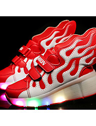 LED Light Up Shoes, Girl's Flats Summer Roller Skate Shoes PU Casual Flat Heel Blue / Yellow / Red Others