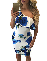 Women's Rose Print Frill One Shoulder Midi Dress
