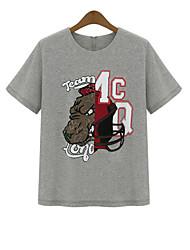 Damen Druck Einfach Lässig/Alltäglich T-shirt,Rundhalsausschnitt Sommer ½ Länge Ärmel Weiß / Grau Baumwolle Undurchsichtig