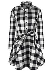 Feminino Camisa Vestido,Casual Moda de Rua Quadriculada Colarinho de Camisa Acima do Joelho Manga ¾ Vermelho / Branco AlgodãoOutono /