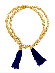 Sweet Style Gold Acrylic Bead Strand Bracelet  with Tissue Pendant