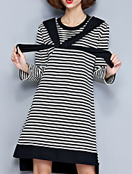 Women's Casual/Daily Simple Sheath Dress,Striped Round Neck Above Knee Long Sleeve Black Cotton Summer