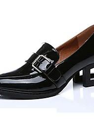 Черный-Женский-Для офиса / Для вечеринки / ужина-Лакированная кожа-На толстом каблуке-На каблуках-Обувь на каблуках