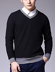 Herren Pullover-Einfarbig Freizeit Baumwolle Lang Blau