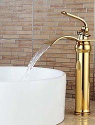 Contemporary Heightening Ti-PVD Waterfall Bathroom Sink Faucets-Gold