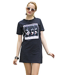 Mulheres Reto Vestido,Casual Fofo Listrado / Estampado Decote Redondo Mini Manga Curta Preto / Cinza Algodão Verão