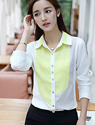 Women's Casual/Daily Simple Summer Blouse,Color Block Shirt Collar Long Sleeve Blue / Yellow Polyester Medium