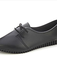 Women's Sneakers Spring / Fall Comfort Leatherette Outdoor / Casual Flat Heel Lace-up Black / White Others