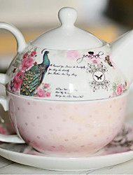 New Bone China Gift Sets Gift Couple Cups Of Coffee Cup Has A Peacock Short Three-Piece Pot Dish