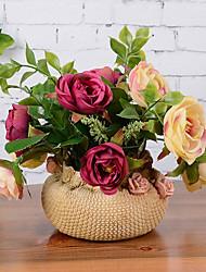 11 11 Ramo Seda Rosas Flor de Mesa Flores artificiais 16CM