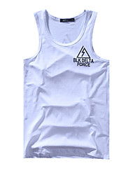 Men's Letter Casual Tank Tops,Cotton Sleeveless-Black / White