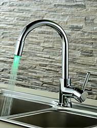 Contemporary Single Handle LED  Kitchen Faucet With 3 Color Changing LED Light(No Battery)