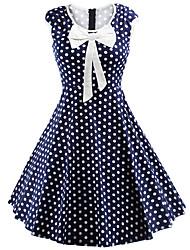 Trapèze Robe Femme Décontracté / Quotidien Mignon Chic de Rue,Points Polka Col Arrondi Mi-long Sans Manches Bleu Rouge Polyester Spandex