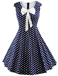 Women's Bow Casual/Daily Cute / Street chic A Line Dress,Polka Dot Round Neck Knee-length Sleeveless