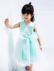 A-line Knee-length Flower Girl Dress - Tulle Sleeveless V-neck with Bow(s)