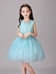 A-line Knee-length Flower Girl Dress - Cotton / Satin / Tulle Sleeveless Jewel with Pattern / Print / Sash / Ribbon