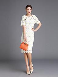 Gaine Robe Femme Sortie Mignon,Couleur Pleine Col Arrondi Mi-long Manches Courtes Blanc Coton Printemps Taille Normale Micro-élastique